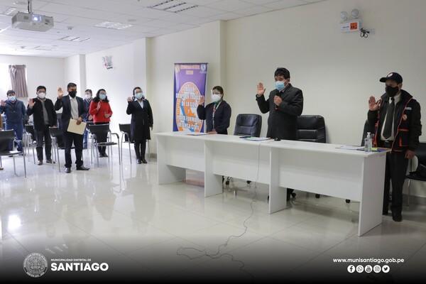 JURAMENTACIÓN Y ASISTENCIA TÉCNICA DEL GRUPO DE TRABAJO DE LA GESTIÓN DE RIESGOS DE DESASTRES DE LA MUNICIPALIDAD DISTRITAL DE SANTIAGO – INDECI